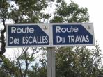 This sign for Route des Escalles is about 300 metres west of Le Cyclos