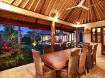 The outdoor dining area looks out onto the lush grounds, great menu and cook available for guests.