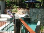Private Bridgeway access to pool from Master bedroom
