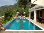 Infinity Pool downstairs 14 meter long with separate children area, big terrace for sun and dinner.