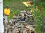My husband Robert whittling sticks for the guests to have Smores!
