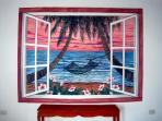 Colorful window mural  in Master Bedroom
