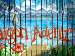 outside fence wall mural