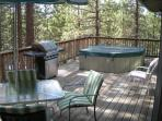 500 sq ft upper deck with hot tub, BBQ, and patio furniture