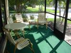 The screen lanai has 4 chairs and 2 tables to enjoy your morning coffee or afternoon tea!
