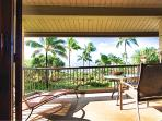 Lanai with table and chairs and lounge
