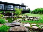 Backyard with lush landscaping