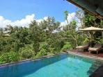 Infinity pool and deck with 180 degree view