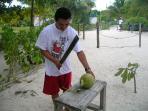 Fresh coconut milk on the beach