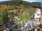 Town Lift Area, Skiers Bridge in Summer.   We are loated at the Town Ski Lift