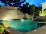 Pool Beautifully Lit at Night