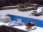 Villa Galaxy's Silver service: on Sun's veranda by the pool, sea view