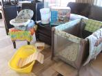 Perfect for toddlers...we have a playyard, a steriliser, a bathtub, a baby seat & baby bedding..