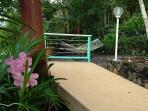 Thoughtful outdoor design, including wooden walkways through the lush, tropical garden.