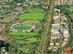 Brunswick Vibe is at the bottom tip of this photo of Princes Park. The edge of Royal Park on the RHS