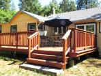 Murphys Vacation Rental Back Deck with Gas BBQ & Dining Table, Chairs and Umbrella