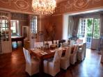 Stunning dining room -  4 metre ornate ceilings, oak parquet floors, chandelier & terrrace to garden