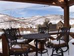 Patio off living room with gas barbeque and breathtaking views of Park City and Deer Valley