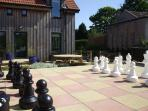 Enjoy the garden patio, dining area, BBQ and even the giant chess set. All with country views