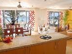 from the kitchen you see the dining and living room areas are directly on the beach