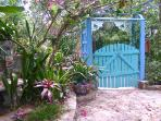 St. John Rental Stonegarden Cottage, Beauty Abounds in the Garden Entry