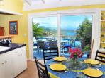 The eat-in kitchen has ample space for your family, and a a lovely water view to enjoy while cooking