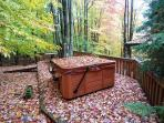 Outdoor hot tub on a separate private deck.