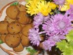 Homemade cookies and fresh flowers to welcome you