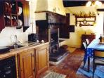 Kitchen with wood fireplace (free firewood)