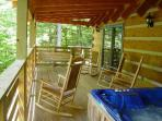 Covered Porch With Rocking Chairs/Swing/Hot Tub Overlooking Creek