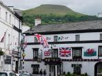 The Bear in Crickhowell with Table Mountain above