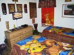 Lion King bedroom with 2 twin beds, Visco foam, cable, HDTV, Ps2, DVD, bed rails available