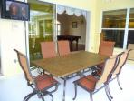 Comfortable Outdoor Dining Seating for 6 Persons plus large Flat Screen Cable TV Poolside