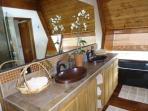 master bath has double copper sinks