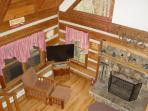 View from Loft of Fireplace and 42' Flatscreen TV