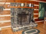 Stone Wood Burning Fireplace in Living Room