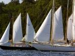Schooners sailing in Lunenburg Harbor