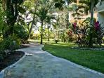 Winding paths lead thru lush gardens past condo balconies