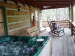Covered Porch with Swing & Rocking Chairs & Hot Tub