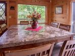 Marble top dining table seats 8