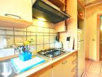 The Kitchen with microwave, gas stove and  fridge