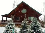 a winter look at the Log Home