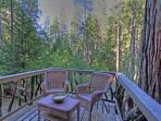 The back deck is the perfect place to stargaze or have morning coffee. Propane BBQ is just to right.