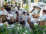 Have mani-pedis at the same time with your friends on the veranda with our in-house spa team.