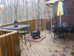 Deck with fire pit, outside dining
