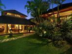 Villa Bunga Wangi Living, Lotus Suite and Garden at Dusk