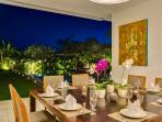 Dining at Night in Villa Kavya