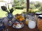 Breakfast is served outside