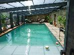 small covered, unheated, pool for cooler periods
