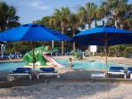 Large kiddie pool and heated pool located at the Cabana Club